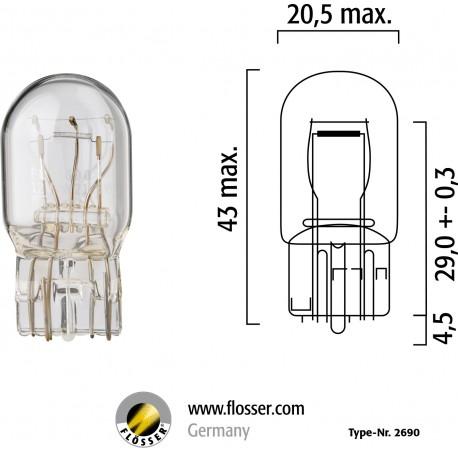 FLOSSER BEC 12V 21/5W T20 W3x16q